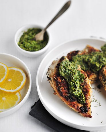 Sauteed Chicken Breasts with Salsa Verde - recipe by Grace Parisi
