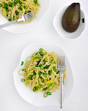 Linguine, Crab and Avocado with Scallion Vinaigrette - recipe by Grace Parisi