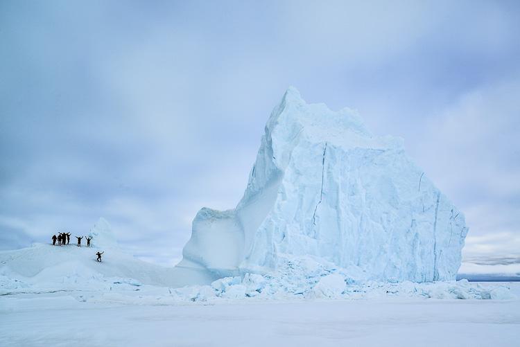 Climbing Icebergs at Arctic Canada Nunavut