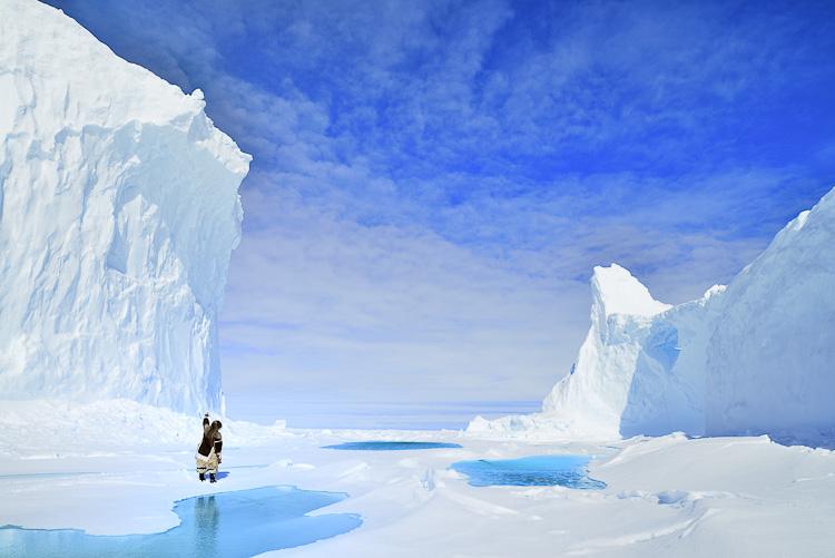 Icebergs in Nunavut Arctic Canada