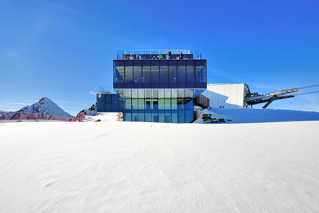 Ice Q, a three-storey glass building at the top of the 3,048m summit of Gaislachkogl.