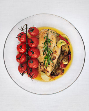 Honey Rosemary Chicken with Cherry Tomatoes - recipe by Grace Parisi
