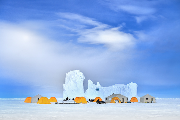 Arctic Kingdom Base Camp on the frozen sea Nunavut Arctic Canada